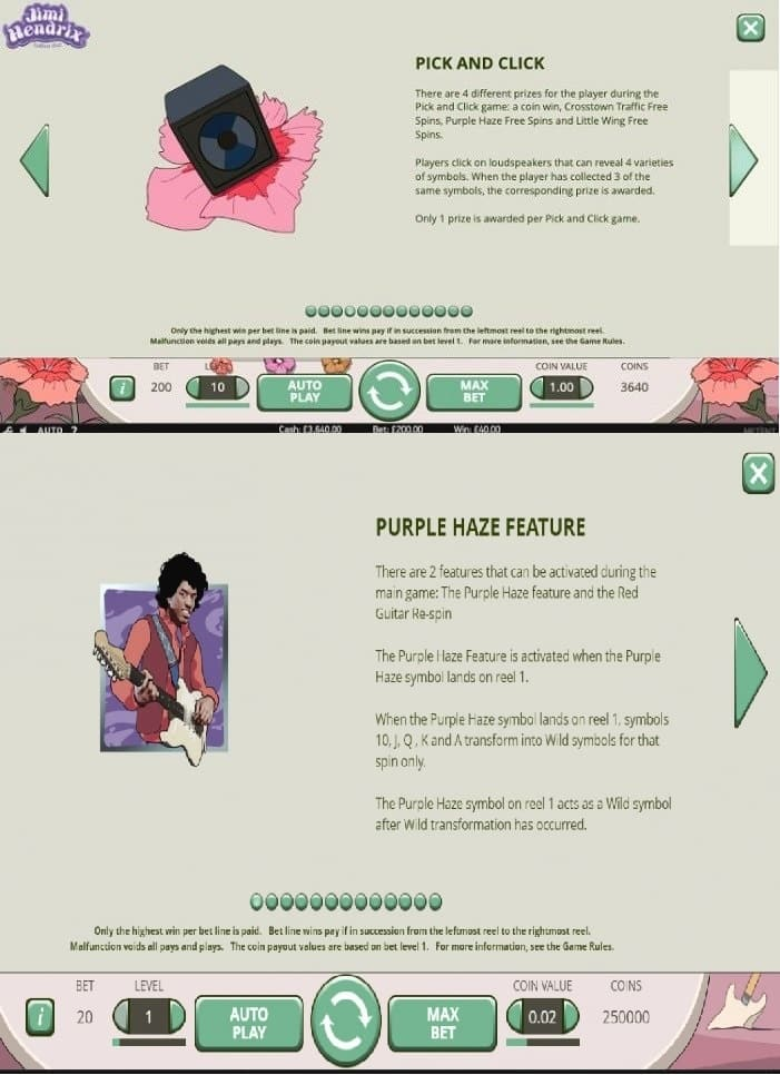 This is a screencap from the slot describing in detail the two main bonus features of the game (these are Purple Haze and Pick and Click). You can read the details of these bonuses right underneath the picture.