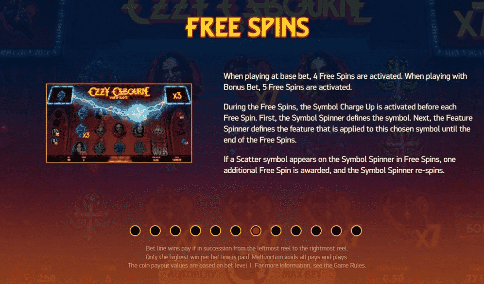This picture describes and explains hot the free spins of the slot Ozzy Osbourne work.