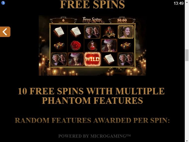 This is the free spins page of the game.
