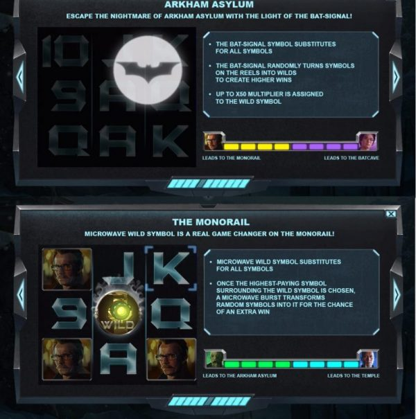 This is a screenshot of the slot Batman Begins, it shows the special features of the game. This is part 2.