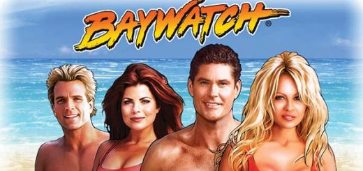 This is the official header image of the 2017 IGT pokies Baywatch 3D. It features the bust of all the main characters from the original TV series: Mitch (David Hasselhof), Case Jean Parker (Pamela Anderson) and Jill Riley ( Shawn Weatherly) and Cody Madison (David Chokachi).