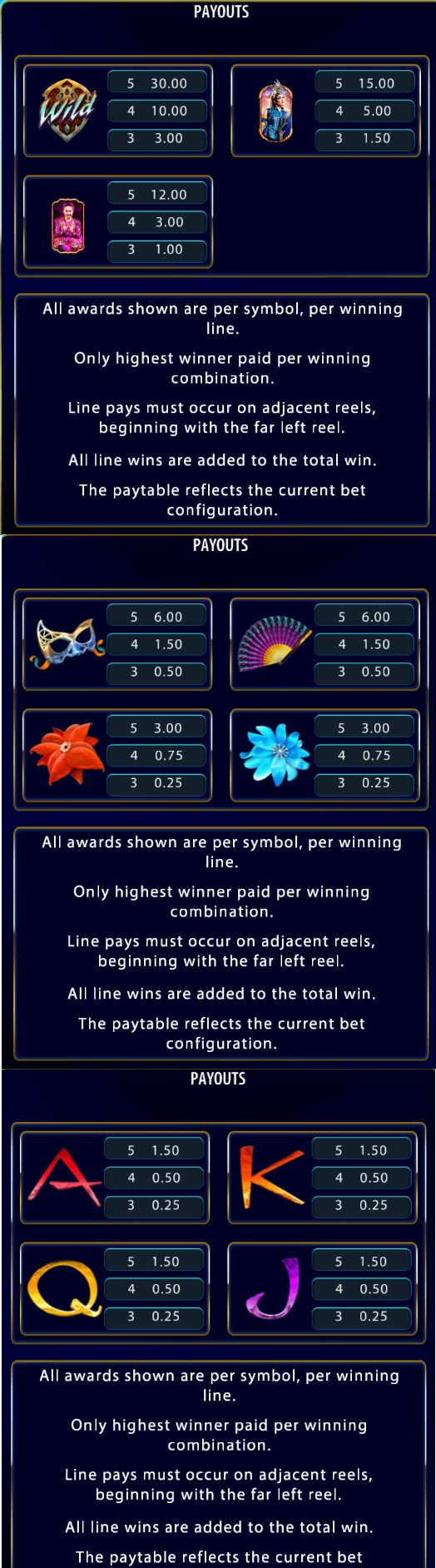 This is the paytable of the Cirque du Soleil - Amaluna slot. You can read about the winning combinations below the picture.