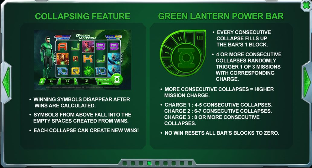 This is a screencap of the Green Lantern slot, illustrating the collapsing feature and the Green Lantern power bar, two features found in the game.