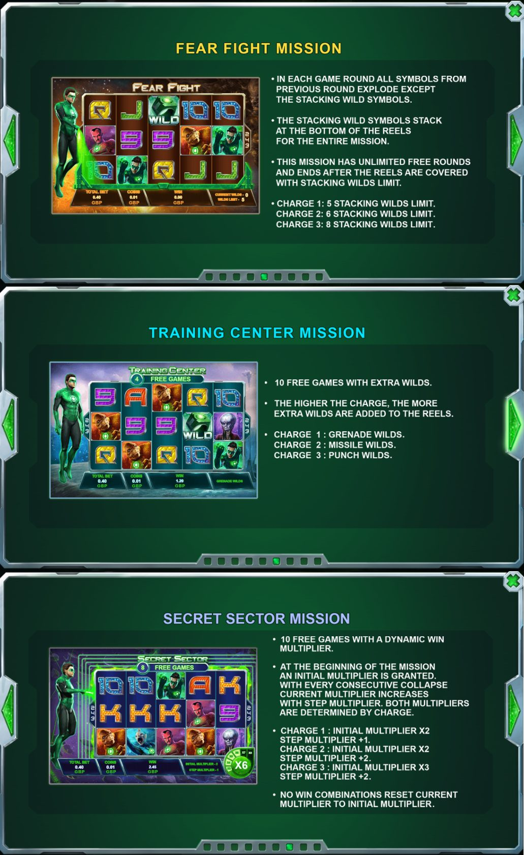 This is a composite image of the Green Lantern slot consiting of 3 pictures put together. The picture shows the various special features you can activate by charging the green lantern power bar. You can read about these features under the picture.