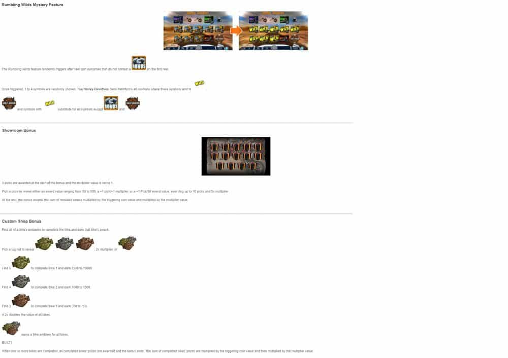 This is a picture of Harley Davidson Freedom Tour IGT slot's various bonus features. You can read the details of these features under the picture.