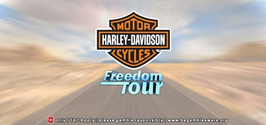This is the header image of the Harley Davidson Freedom Tour video pokies. You can play the online gambling game, the digital fruit machine on this page.