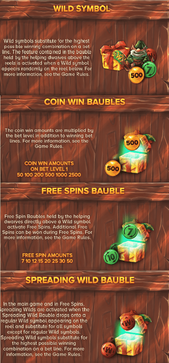 This is a composite screencap from the slot Jingle Spin. On the picture you can see the explanations of the various special bonus features of the game. You can read these under the picture.