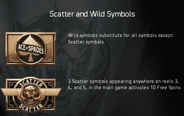 This image depicts the free spins and wild symbols of the Mötorhead slot.