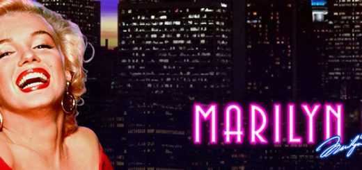 This is the header image of the Playtech 2012 slot Marilyn Monroe. You cna play this free online fruit machine, a.k.a pokies on this page. The picture has Marilyn Monroe on it in a red dress smiling, circa 1960s colorized.