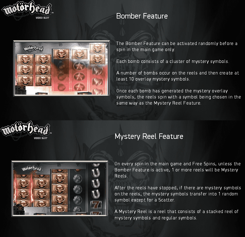 This is a screencap from the Netent music license digital slot Motörhead. The picture describes the two special bonus features found within the game. You can read about these bonus features under the picture.
