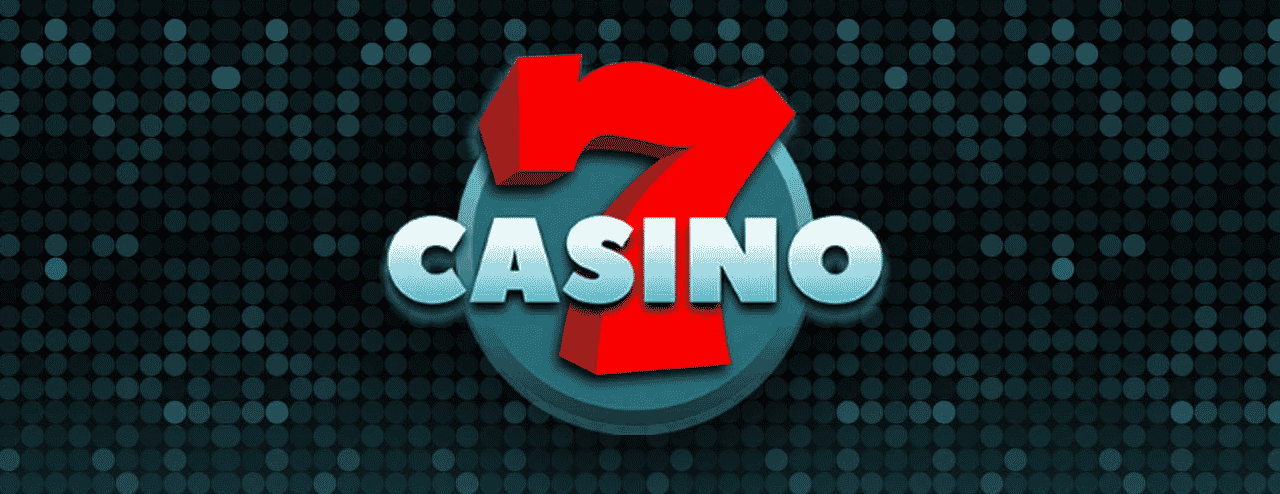 This is the official logo of 7casino, an online gambling website. The digital image consist of a giant red number 7 and the words 'CASINO' with a greenish background. This is the header image of the 7casino online casino review page. You can read the review of this online gambling website under the picture.