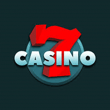 This is the official logo of 7casino an online gambling website, used with permission. The digital image consist of a giant red number 7 and the words 'CASINO' with a greenish background. This is the header image of the 7casino online casino review page. You can read the review of this online gambling website under the picture.