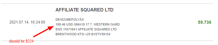 This is a picture from my bank statement, showing the transaction details of the payment received form Genesys Technologies N.V. (owners of the Genesys Club casinos), through Affiliate Square Ltd, for the period of 2021/06, the amount is $199, and it should have been $224. This is part of the proof, illustrating the wrongdoings on their part, and them stealing money form affiliates and players alike. You can read the details of this scam above and below the picture.