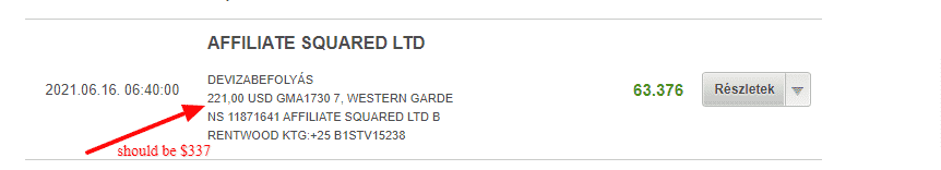 This is a picture from my bank statement, showing the transaction details of the payment received form Genesys Technologies N.V. (owners of the Genesys Club casinos), through Affiliate Square Ltd, for the period of 2021/06, the amount is $221, and it should have been $337. This is part of the proof, illustrating the wrongdoings on their part, and them stealing money form affiliates and players alike. You can read the details of this scam above and below the picture.