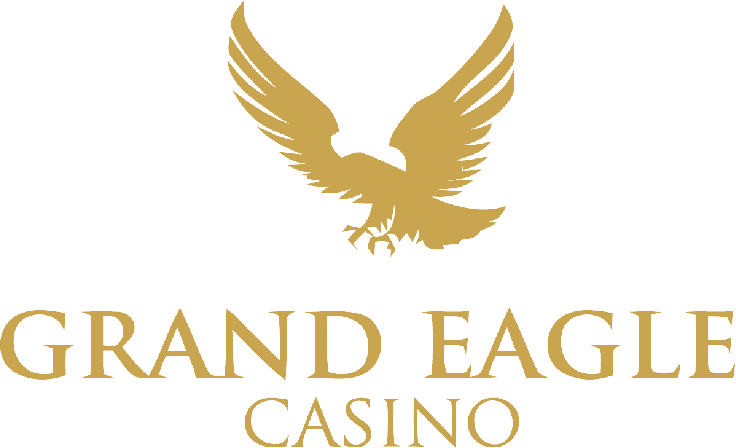 This the logo of Golden Eagle casino, featuring a Golden Eagle and the name of the casino in golden letters over a white background. You can read the casino review of goldeneagle.com on this website.
