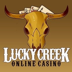 This is the logo of the Lucky Creek online casino, with a bull skull and the name of the casino. This is a picture of the casino review, you can read the review of luckycreek.com onthis website.