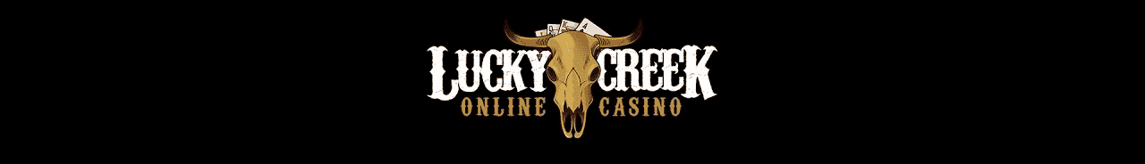 """This is the header image of one of the Genesys Technologis N. V. casinos, the Lucky Creek casino. The picture consist of a skull of a bull, and the words """"Lucky Creek Online Casino"""", over a black background. On this page, under the picture, you can read a review about the Lucky Creek Casino warning people about this scam and that they are stealing money from players and affiliates."""