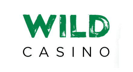 "This is the header image of Wild Casino casino review. The picture consists of the words ""WILD"" and ""CASINO"" over a white background. ""WILD"" is written in green all caps letters and ""CASINO"" is written in black all caps letters. This is the alternate version of the logo of the company, used with permission. You can read the review of Wildcasino under the picture."