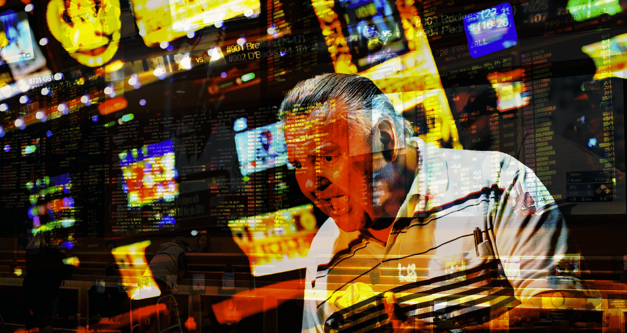 This is a picture of an old, overweight man playing slots at a casino. In the background there are slot machines. Under the picture you can read about gambling addiction, prevention and harm reduction on this blog + there is an interactive problem gambling quiz at the bottom with which you can find out your extent (if any ) of your pathological gambling.