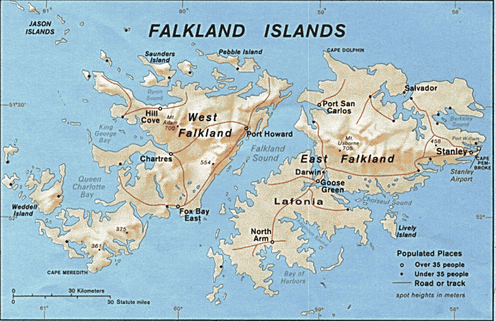 This is a picture of the official map of the Falkland Islands, showing the two main islands, East and West Falkland and Stanley, the capital and biggest city. On this page you can find a list of brick & mortar gaming venues, and licensed internet casino websites, which accept gamblers from the Falkland Islands.